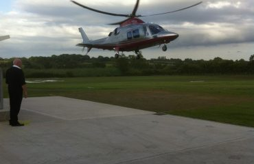 Departing from Nottingham Heliport